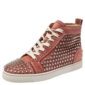 Christian Louboutin Brown Suede Louis Spikes High Top Sneakers Size 40