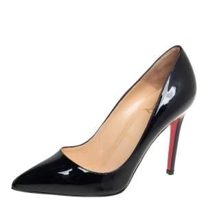 حذاء كعب عالي كريستيان لوبوتان بيغال جلد أسود لامع بمقدمة مدببة مقاس 38