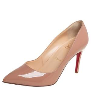 Christian Louboutin Beige Patent Leather Pigalle Pumps Size 37.5