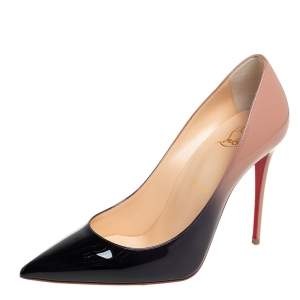 Christian Louboutin Beige/Black Patent Leather Kate 100 Pointed Toe Pumps Size 38