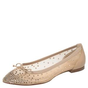 Christian Louboutin Beige Mesh And Leather Strass Patio Ballet Flats Size 35.5