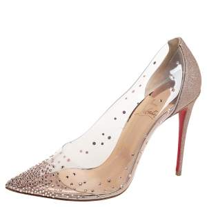 Christian Louboutin White/Pink Glitter And PVC Degrastrass Crystal Embellished Pumps Size 39