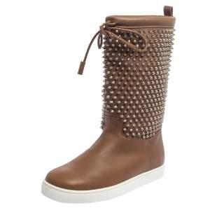 حذاء بوت منتصف ساق سورلابوني جلد بني مرصع سبايك مقاس 42
