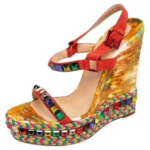 Christian Louboutin Multicolor Studded Suede Cataclou Espadrille Wedge Sandals Size 40