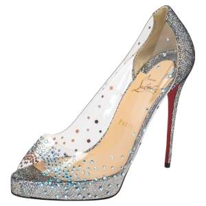 Christian Louboutin  Grey Leather And PVC  Peep Toe  Pumps Size 40