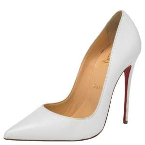 Christian Louboutin White Lizard Embossed Leather So Kate  Pumps Size 37