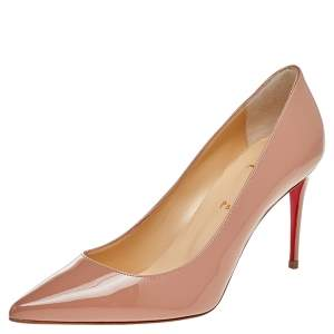 Christian Louboutin Beige Patent Leather Kate Pointed Toe Pumps Size 39