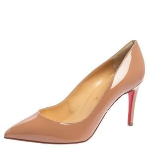 حذاء كعب عالي كريستيان لوبوتان بيغال جلد بيج مقاس 39.5