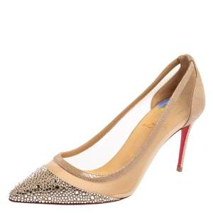 Christian Louboutin Beige Crystal Embellished Mesh And Suede Follies Strass Pumps Size 37