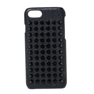 Christian Louboutin Black Leather Spiked iPhone 8 Case