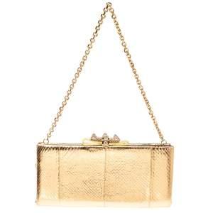 حقيبة كلتش كريستيان لوبوتان شاريتي سلسلة جلد نقشة الثعبان ذهبي