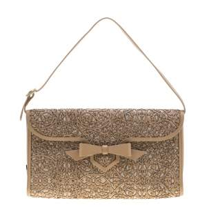 Christian Louboutin Beige Evita Pampas Clutch Bag