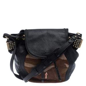 Christian Louboutin Black/Brown Leather and Calfhair Dompteuse Backpack