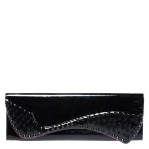Christian Louboutin Black Patent Leather Pigalle Spikes Clutch