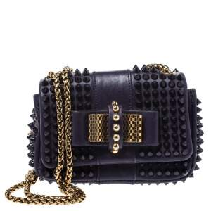 Christian Louboutin Purple Leather Mini Spiked Sweet Charity Crossbody Bag
