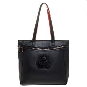 Christian Louboutin Black Leather Studded Crest Tote