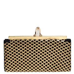 Christian Louboutin Gold/Black Patent Leather and Satin Pave Clutch