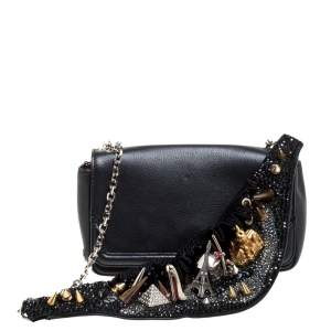 Christian Louboutin Black Leather Artemis Studded Shoulder Bag