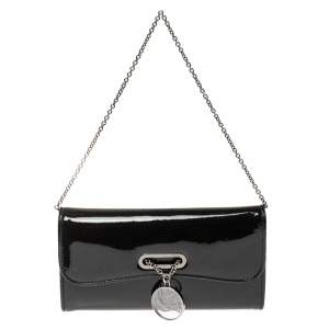 Christian Louboutin Black Patent Leather Riviera Clutch