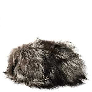 Christian Louboutin Tri Color Fox Fur Anastasia Clutch Bag