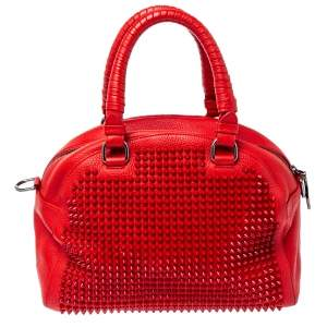 Christian Louboutin Red Leather Panettone Spiked Satchel