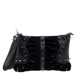 Christian Louboutin Black Suede and Leather Spiked Wristlet Clutch