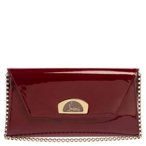 Christian Louboutin Red Patent Leather Vero Dodat Chain Clutch