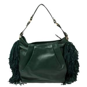 Christian Louboutin Green Leather and Suede Justine Fringed Hobo