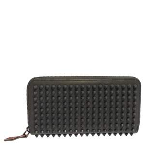 Christian Louboutin Grey Leather Spikes Panettone Zip Around Wallet