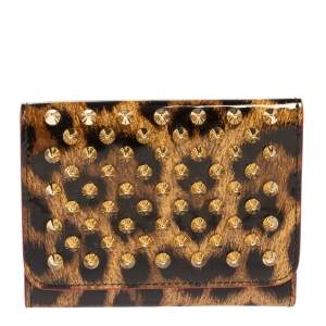 Christian Louboutin Brown Leopard Print Patent Leather Macaron Trifold Wallet