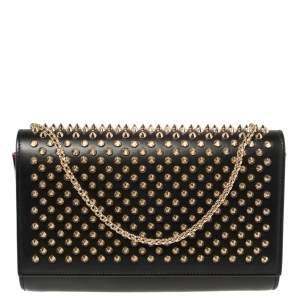 Christian Louboutin Black Leather Paloma Spiked Chain Clutch