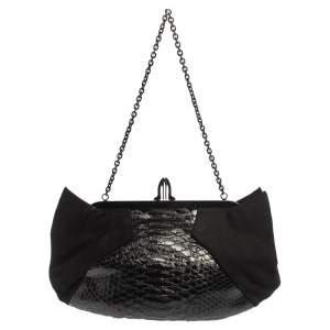 حقيبة كلتش كريستيان لوبوتان لوبي لولا سلسلة سويدي وجلد ثعبان أسود