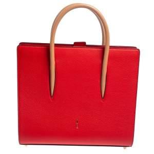 Christian Louboutin Red/Beige Leather Paloma Medium Tote
