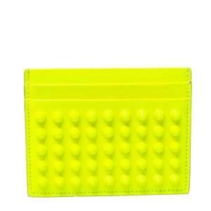 Christian Louboutin Neon Green Patent Leather Kios Spike Card Holder