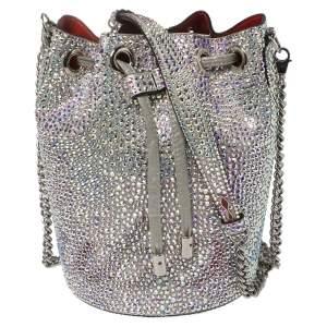 Christian Louboutin Silver Crystal Embellished Leather Marie Jane Bucket Bag