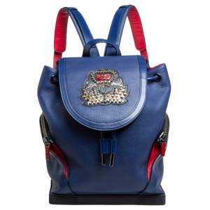 Christian Louboutin Blue/Red Leather and Rubber Explorafunk Backpack