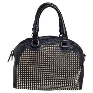حقيبة كريستيان لوبوتان بانيتون سبايكس جلد أسود
