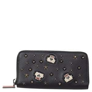 Christian Louboutin Black Leather Spike Panettone Zip Around Wallet