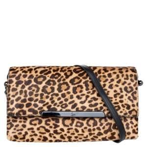 Christian Louboutin Beige/Brown Leopard Print Calf Hair Rougissime Shoulder Bag