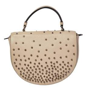 Christian Louboutin Beige Leather Studded Flap Top Handle Bag