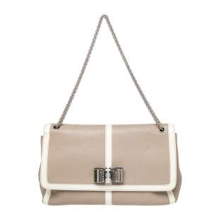 Christian Louboutin Beige /White Patent And Leather Sweet Charity Shoulder Bag