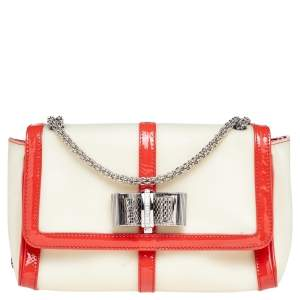Christian Louboutin Beige Rubber And Patent Leather Sweet Charity Shoulder Bag