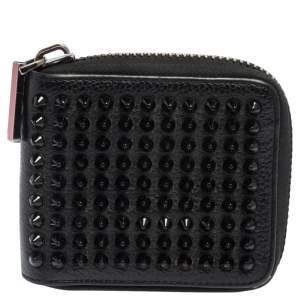 Christian Louboutin Black Leather Spiked Zip Around Wallet