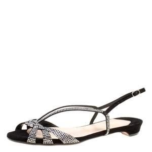 Christian Louboutin Black Crystal Embellished Suede Slingback Flat Sandals Size 36.5