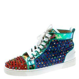 Christian Louboutin Multicolor Suede And Leather Louis Spikes High-Top Sneakers Size 40