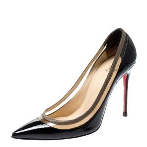 Christian Louboutin Black Patent Leather and PVC Paulina Pointed Toe Pumps Size 39.5