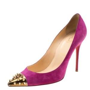 حذاء كعب عالي كريستيان لوبوتان سويدي وردي جيو سبايك مرصع مقدمة ذهبية مقاس 39.5