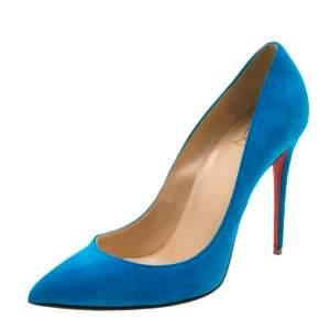 حذاء كعب عالي كريستيان لوبوتان مقدمة مدببة سويدي أزرق مقاس 39