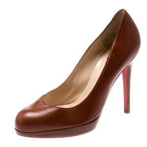 حذاء كعب عالي كريستيان لوبوتان نعل سميك جلد بني مقاس 36.5