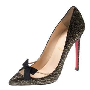 Christian Louboutin Metallic Two Tone Glitter Love Me Lady Bow Pumps Size 36.5